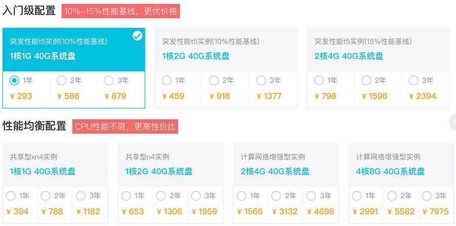 阿里云服务器优惠2折最便宜的云服务器293元一年